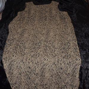 Black and Tan Print Maxi Dress